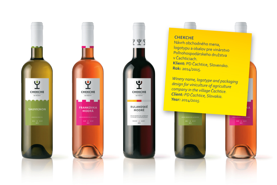 name chekche, logotype and packaging design for winery