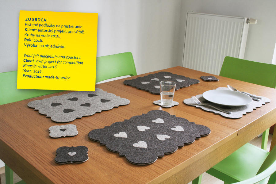 zo srdca! wool felt placemats and coasters